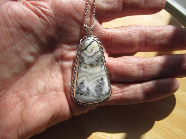 Sterling Silver Pendant - Silver Lace Agate